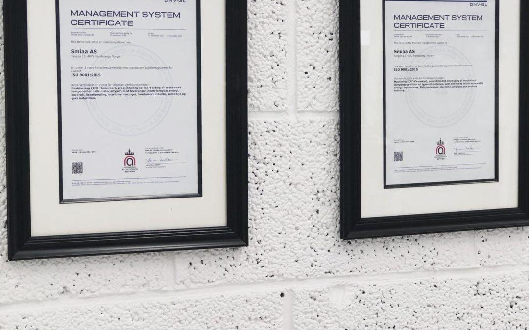 Vi er ISO 9001 Sertifisert